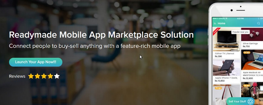 https://www.apptha.com/mobile-app-marketplace website snapshot
