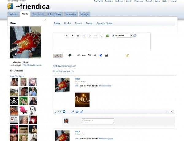 http://friendica.com/ website snapshot