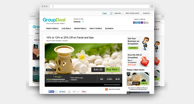 https://www.agriya.com/products/groupon-clone website snapshot