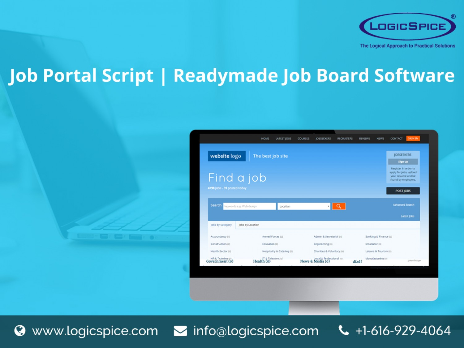 https://www.logicspice.com/products/job-portal-script/ website snapshot