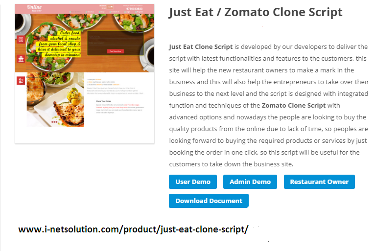 http://www.i-netsolution.com/product/just-eat-clone-script/ website snapshot
