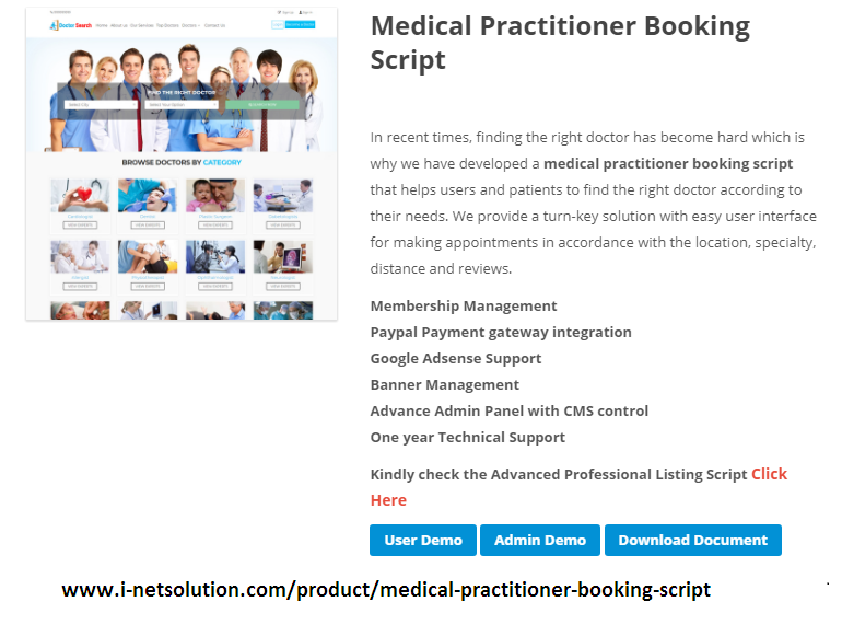 http://www.i-netsolution.com/product/medical-practitioner-booking-script/ website snapshot