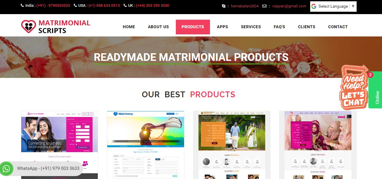 http://www.phpmatrimonialscript.in/products.php website snapshot