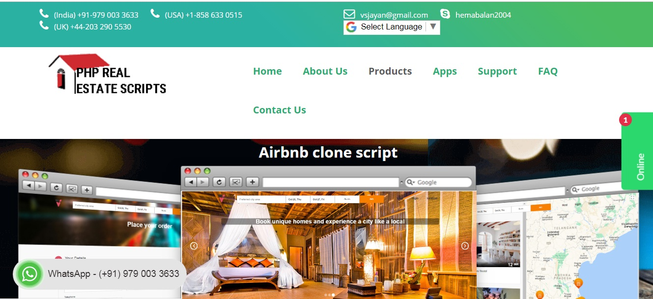 http://www.phprealestatescript.org/airbnb-clone-script.html website snapshot
