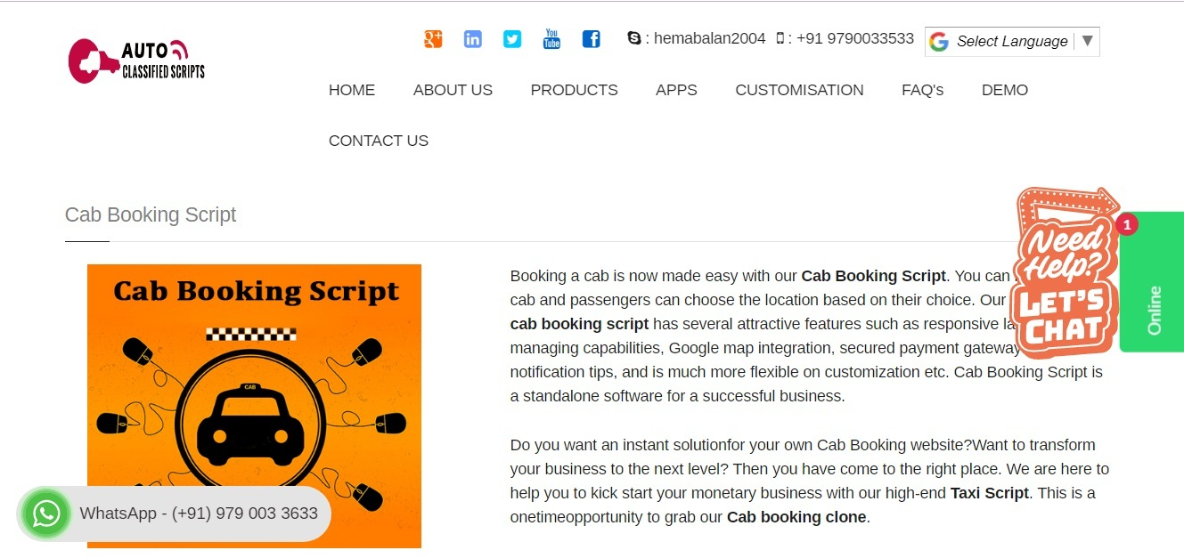 http://www.phpautoclassifiedscript.com/cab-booking-script.html website snapshot