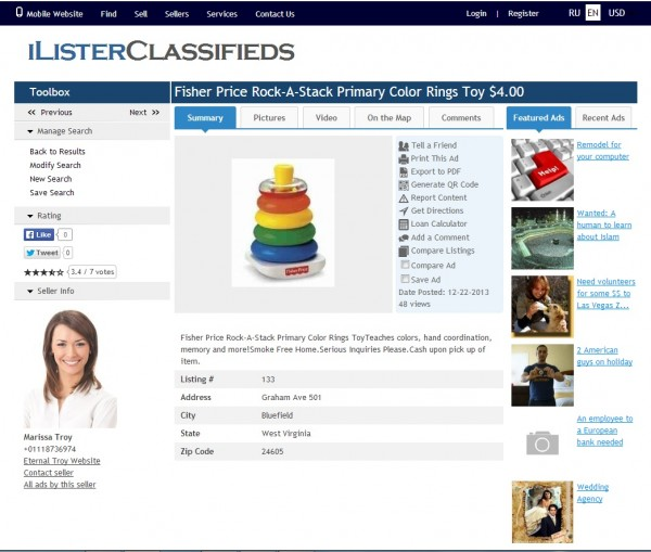 http://www.worksforweb.com/classifieds-software/iLister/ website snapshot